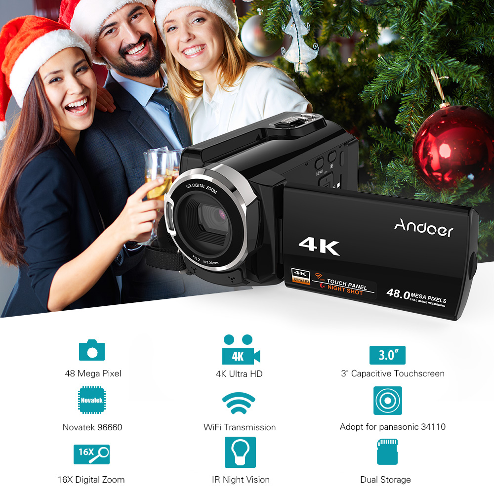 Andoer HDV-534K 4K 48MP WiFi Video Camera Digital 1080P Full HD 3inch Capacitive Touchscreen IR Infrared Night Sight 16X Zoom