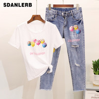 Spring/summer 2019 New Lollipop Pin print Short sleeved T shirt + Ripped Jeans Two piece Women's Suits Girls Students Jeans Sets