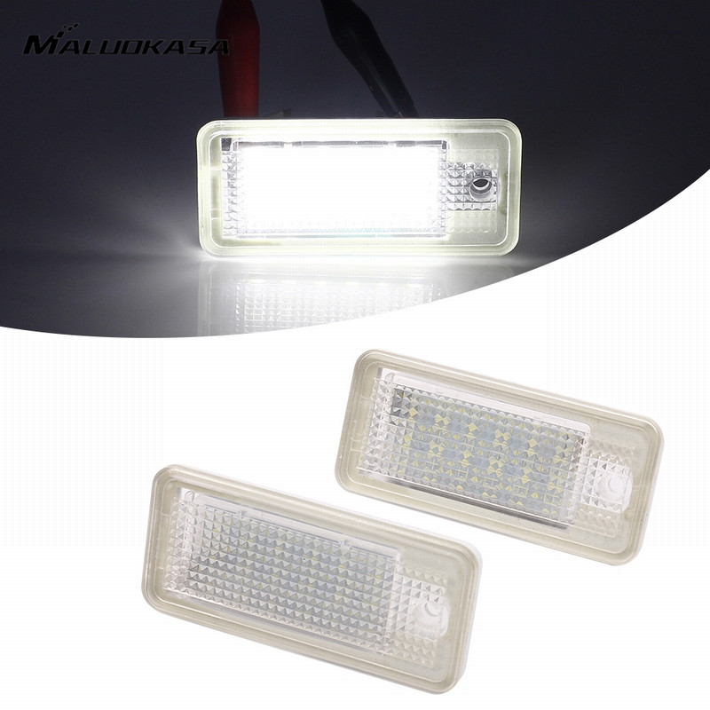 MALUOKASA 2x 3528SMD Car Number License Plate Light Auto Turn Signals LED Lamp Error Free For Audi A3 A4 A5 A6 A8 Q7 2007-2010 2x led car styling canbus no error code license plate lamp for smart fortwo rear number plate light auto accessory