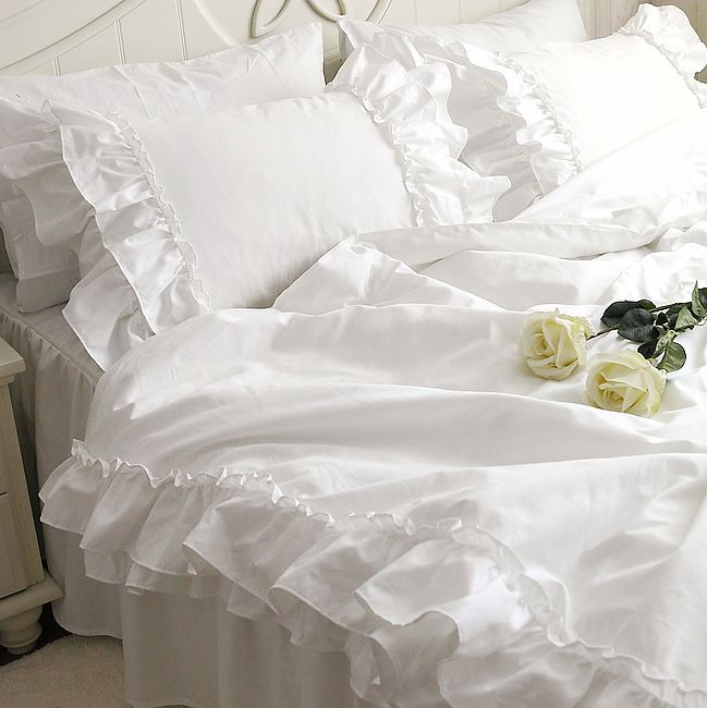 Romantic White Falbala Ruffle Lace Bedding Sets Princess