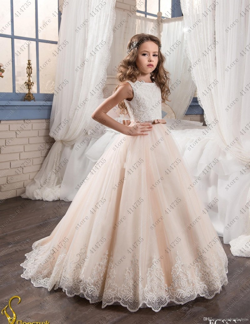 ivory lace   flower     girl     dress   2019 Cute pageant   girl     dresses   for weddings lace vestido primera comunion
