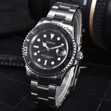 PARNIS Automatic Watch Diver Swim Waterproof 21 Jewel Miyota 8215 Movement Mechanical Watches with Leather Metal Strap Mens Gift