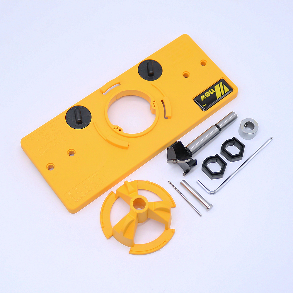 цены NEW 35mm Hinge Drilling Jig + 35mm Forstner Bit Set Guide Hole Puncher Hole Locator DIY Woodworking Tool Free Shipping