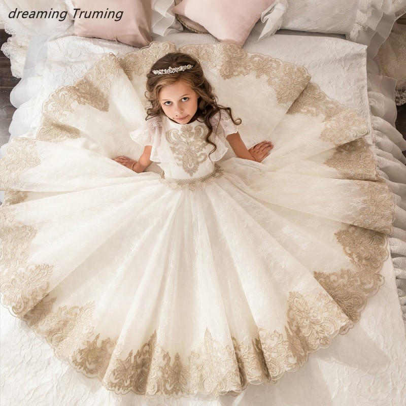 2019 Lovely White And Gold   Flower     Girl     Dresses   For Wedding Ball Gowns Appliques Tulle Pageant   Dresses   For   Girls   Princess   Dress