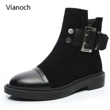 2018 New Fashion Womens Ankle Motorcycle Boots Winter Warm Fur Buckled Shoes Flats Black wo1808104