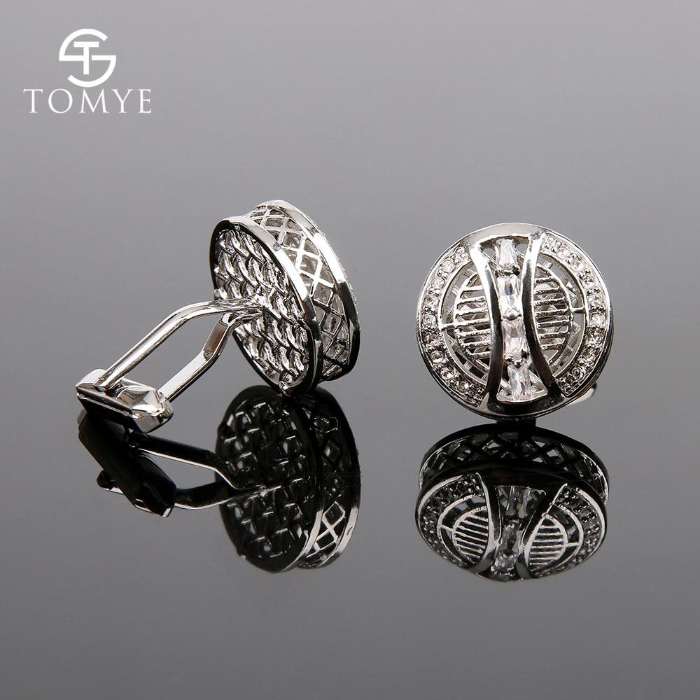 TOMYE Silver Crystal Cufflinks And Studs Men Luxury Wedding Gift Jewelry XK19S068