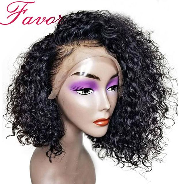 """Curly Short Lace Front Human Hair Wigs With Baby Hair Brazilian Remy Hair Bob Wigs Pre Plucked Natural Hairline 8-14"""" Favor Hair"""