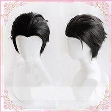 أنيمي يوري!!! على الجليد كاتسوكي يوري قصيرة سوداء مائل الظهر مقاومة للحرارة تأثيري حلي شعر مستعار + غطاء شعر مستعار