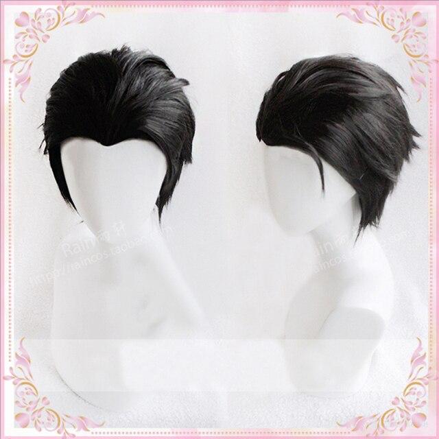 ¡Anime YURI! On ICE Katsuki Yuuri peluca corta de Cosplay resistente al calor, con la espalda rebanada y gorro para peluca, color negro