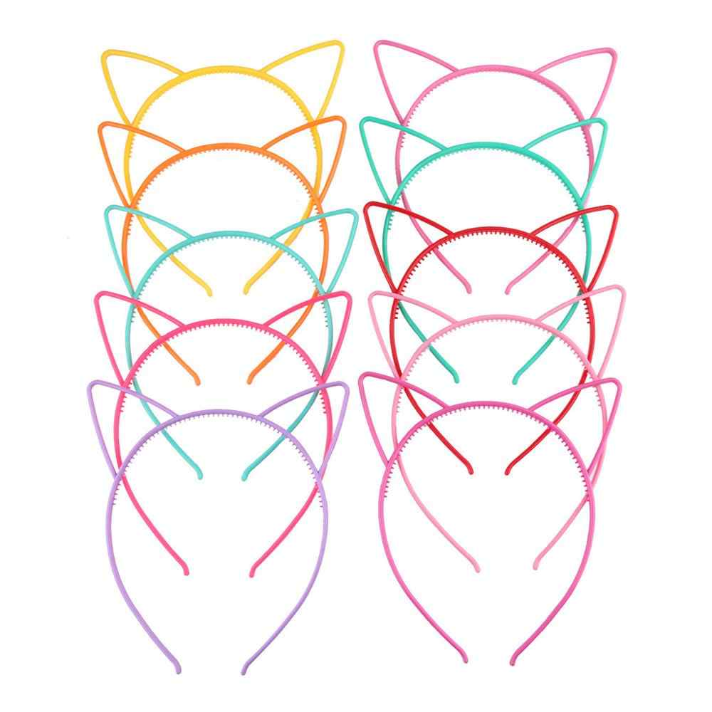 Children Cute Cartoon Pointed Cat Ears Headband Sweet Candy Color Hollow Out Plastic Hair Hoop Anti-Skid Princess Party Headwear
