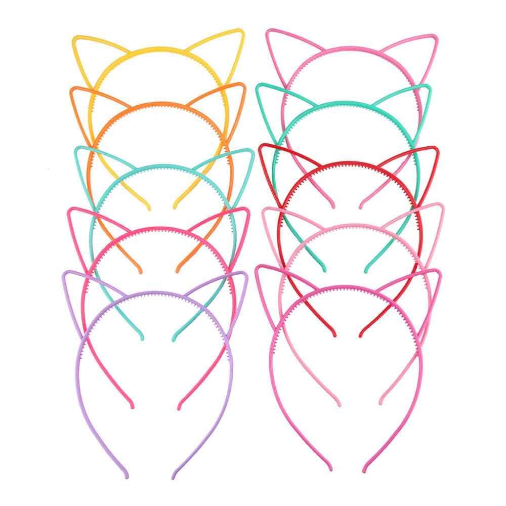 ילדים חמוד Cartoon מחודדת סרט אוזני חתול מתוק צבעים בוהקים חלול החוצה פלסטיק שיער חישוק נגד החלקה נסיכת המפלגה בארה 'ב
