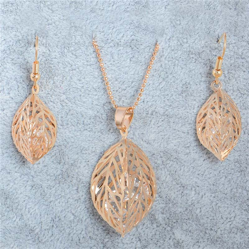H:HYDE 1SET Fashion Womens Gold Color Classic Hollow Leaf Austria Crystal Necklace Earrings Wedding Jewelry Sets Wholesale 8