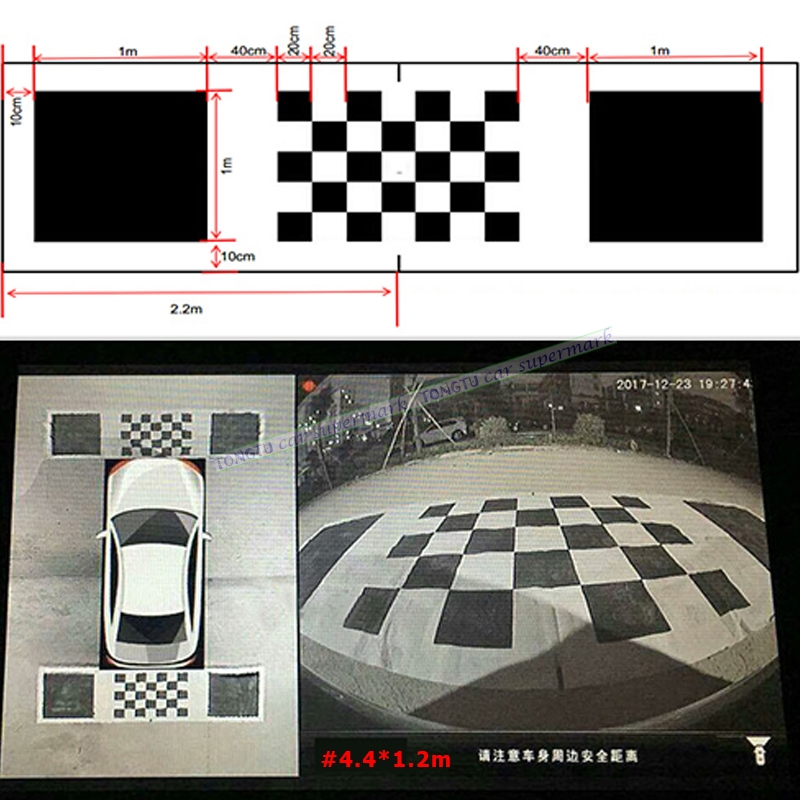 4.4*1.2m 3D Car Camera Correction Calibration Cloth For 360 Degree Surround Bird View Panoramic DVR System