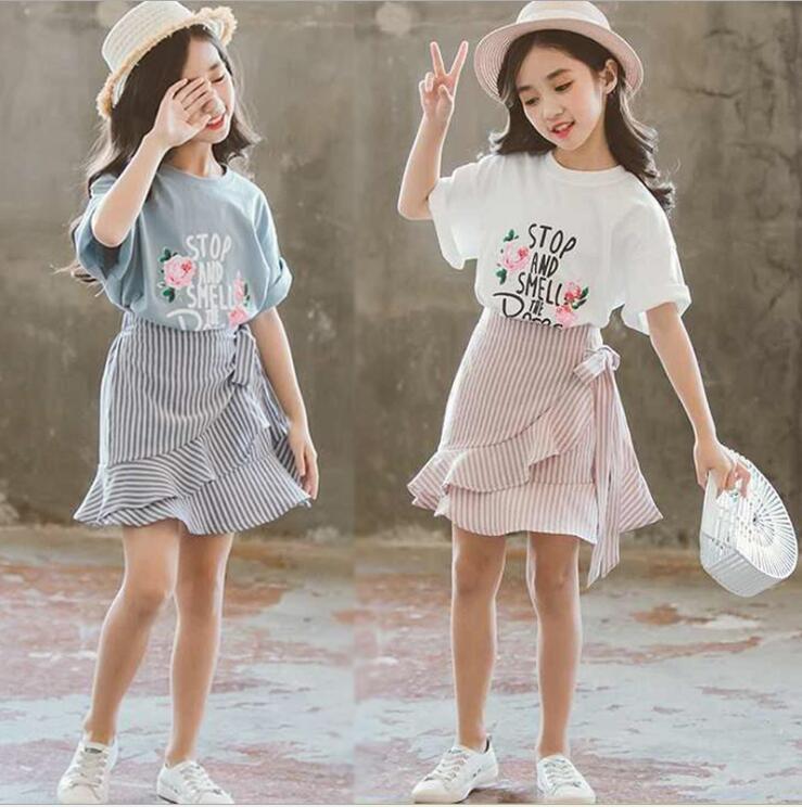 New Children's clothing summer fashion girls short-sleeved t-shirt+dress summer big children's girls skirt two-piece suit