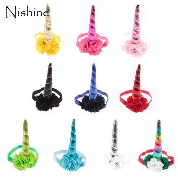 NISHINE New Unicorn Horn Headband Party Hair Chiffon Flower Children Baby Girl Kids Gift Cosplay Decorative Headwear