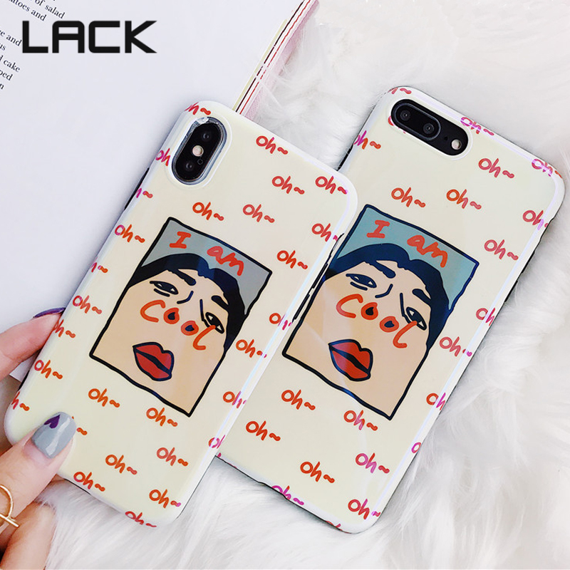 LACK Cute Cartoon Funny <font><b>Blu-ray</b></font> Phone Case For iphone 7 6S 8 Plus Case For iphone X Fashion Letter Pattern Back Cover <font><b>I</b></font> <font><b>am</b></font> COOL