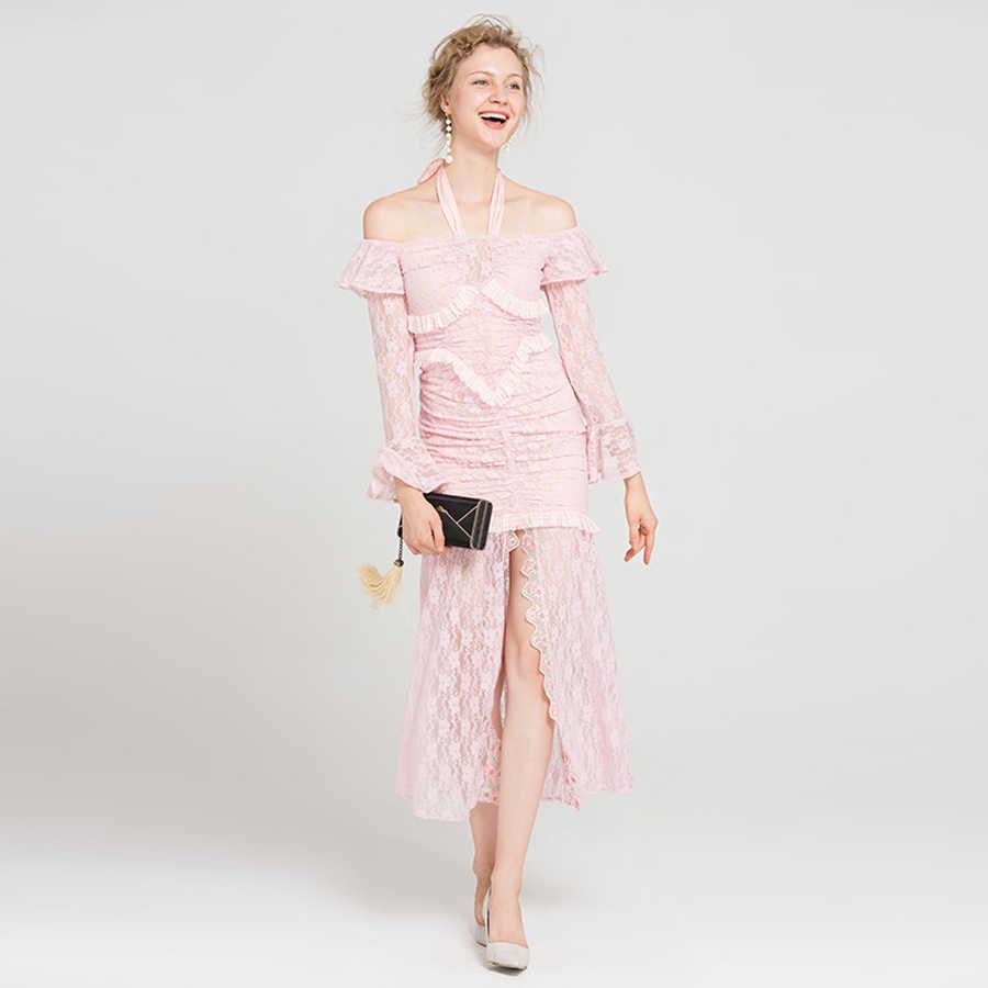 924251c5abe ... Милые женские платья для женщин осень 2019 Мода Новые кружево Новинка  Холтер Slash средства ухода за ...