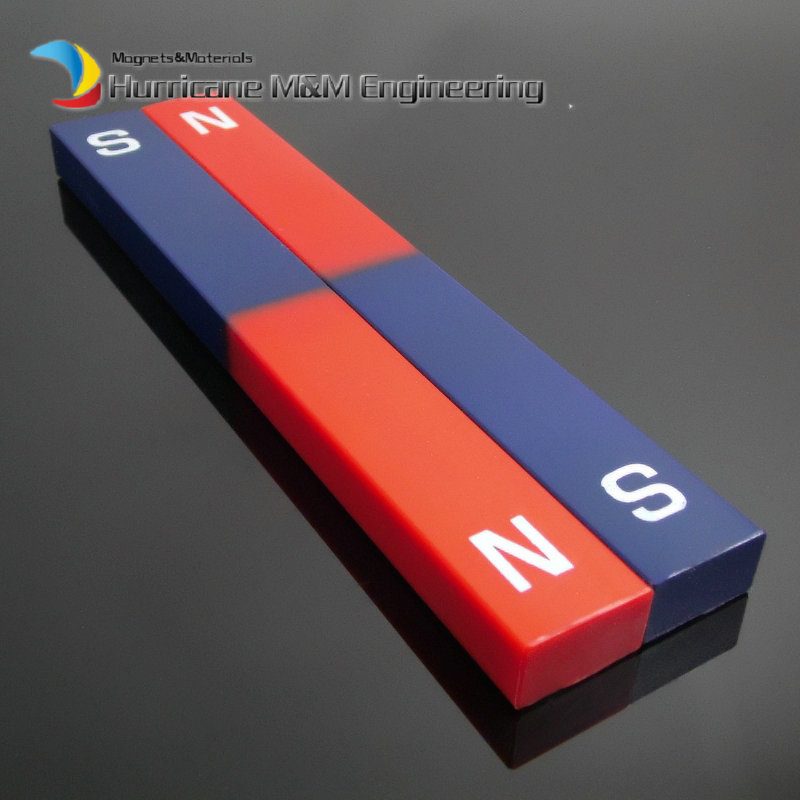 2pcs Magnet Bar Type Plastic Sealed 180x22x12 mm blue red / Toy magnet / office magnet Magnetic Teaching Tool trouble magnet 2