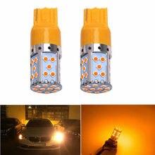 2pc carro 7440 led âmbar amarelo 35-smd 3030 led t20 w21w lâmpadas led para luzes de sinal de volta, canbus drl estacionamento traseiro lâmpada para kia