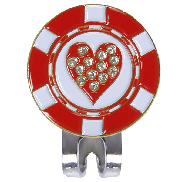 Magnetic cap clip removable metal golf red love diamond set