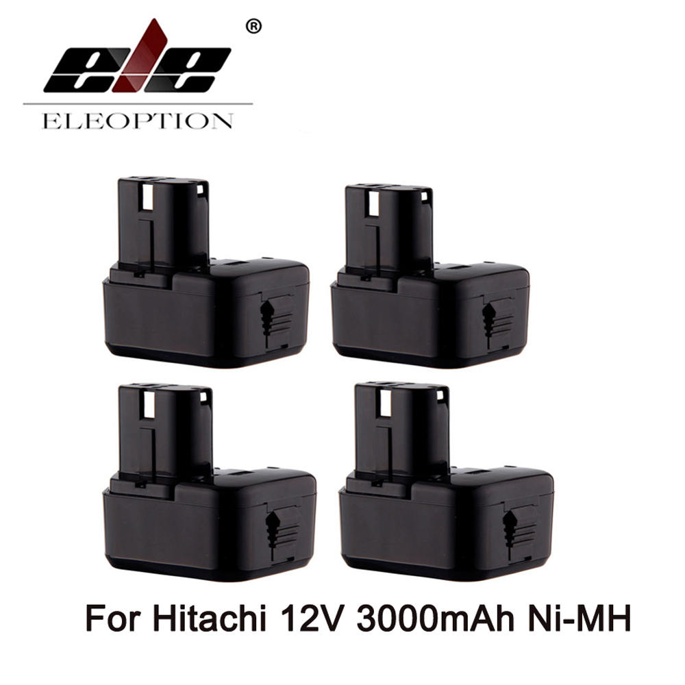 ELEOPTION 4PCS Cordless Drill Power Tool Replacement Battery for Hitachi EB1214L EB1212S EB1214S Battery 12V Ni-MH 3000mAh