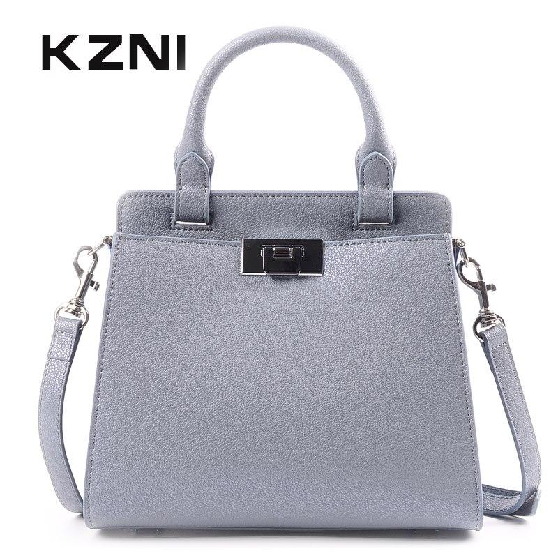 KZNI Womens Genuine Leather Crossbody Bag Female Casual Tote Handbags for Girl Fashion Handbags 2018 Sac a Main Femme 9111