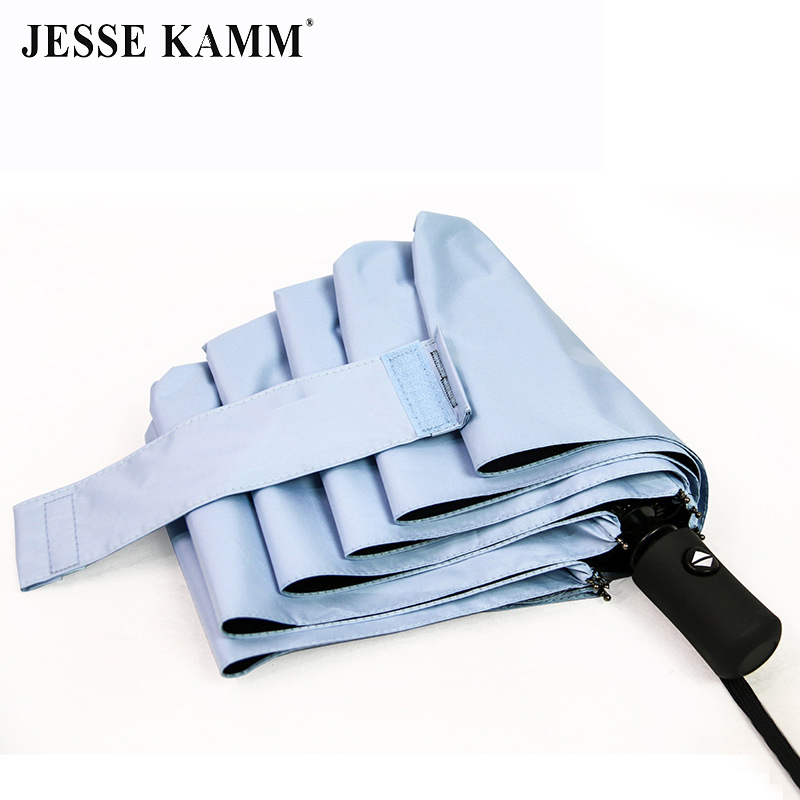 JESSE KAMM Full automatic Three Folding Umbrella Quality Windproof Black Coating Anti UV Umbrella For Men Woman Children