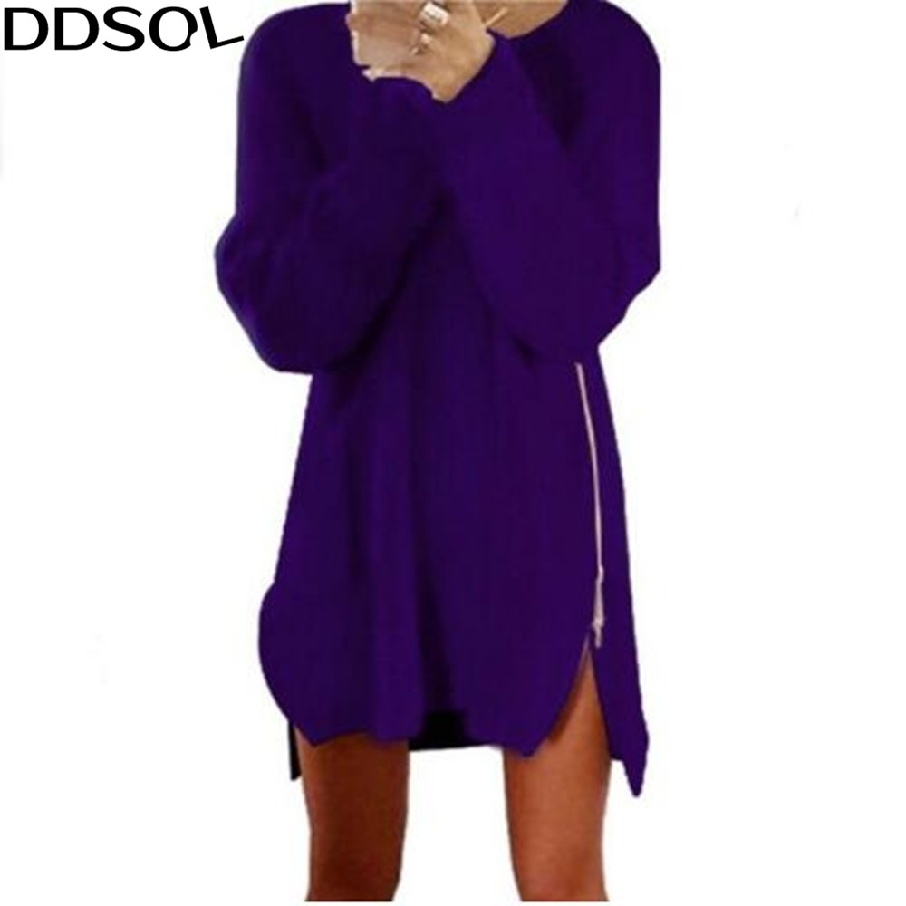 DDSOL Solid Knitted Sweater Dress Women Casual Loose Side Zipper Mini Dresses Spring Long Sleeve Kintting Plus Size Vestidos plain loose long sleeve plus size dress