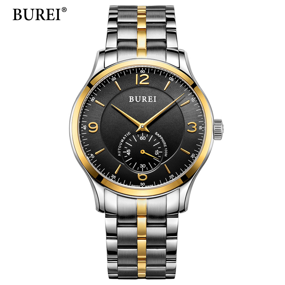BUREI Business Men's Watches Top Brand Luxury Automatic Mechanical Watch Clock Round Dial Stainless Steel Relogio Masculino