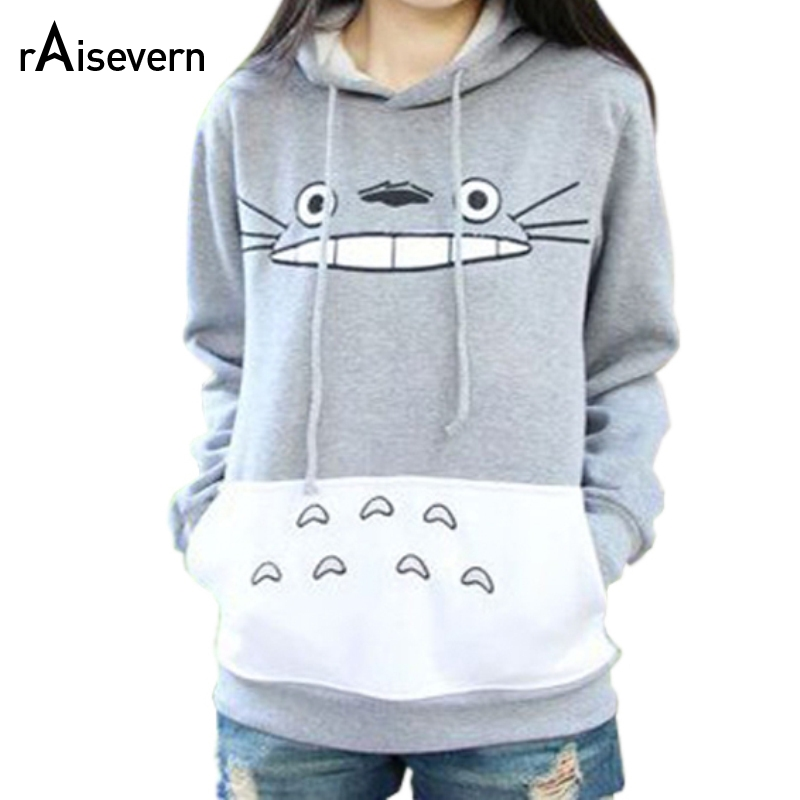 Raisevern Hot 3D Dickes Sweatshirt Harajuku Cartoon Totoro Animal Print Frauen Anzug Hoodie Frühling Außerhalb Kleidung