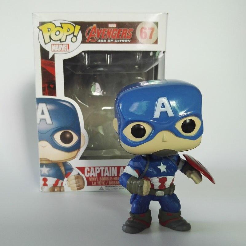 Funko <font><b>Pop</b></font> Captain America 67# <font><b>Vinyl</b></font> Bobble-head <font><b>Avengers</b></font> <font><b>2</b></font> The age of <font><b>ultron</b></font> PVC Action <font><b>Figure</b></font> Movie Character Collection Gifts