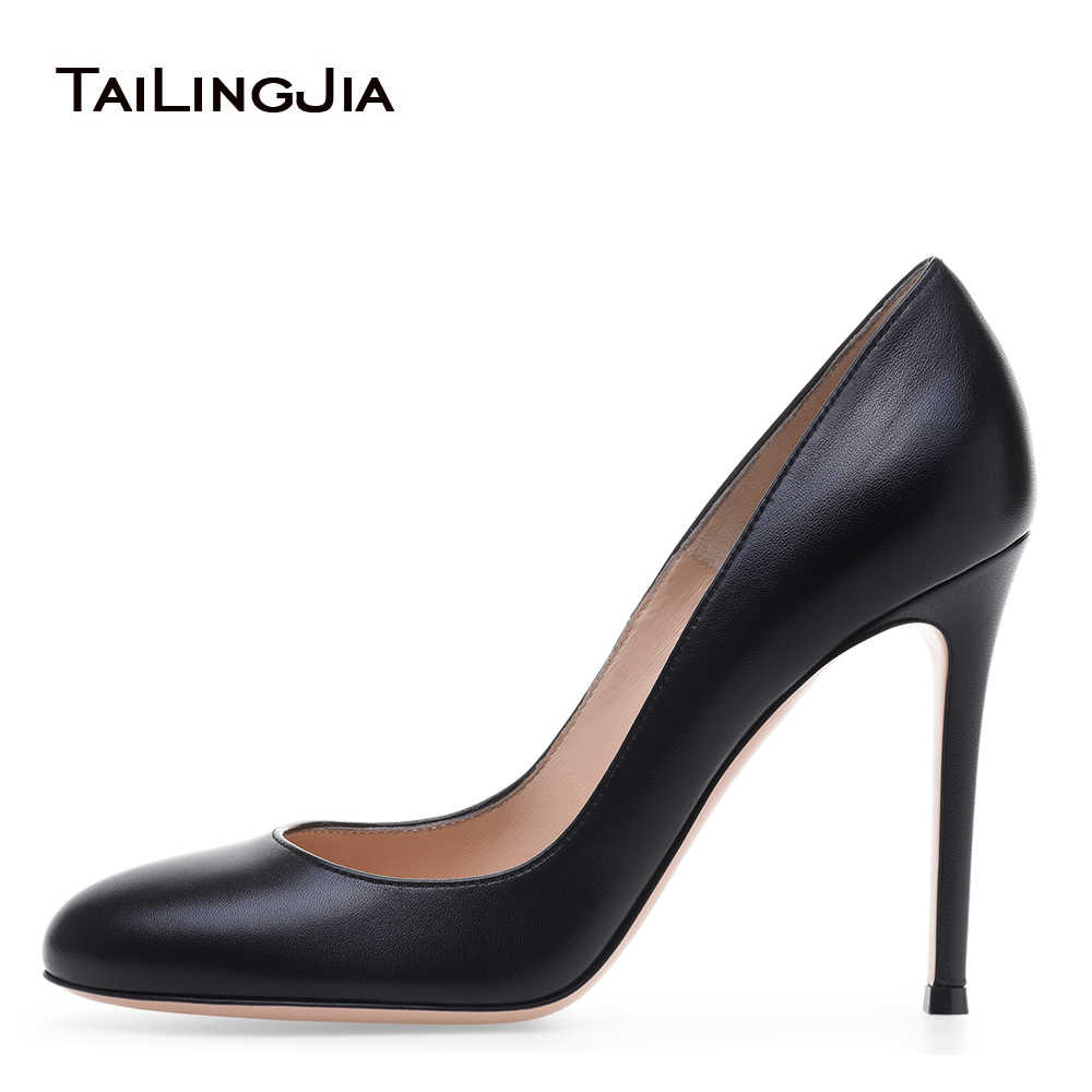 b56e3cbeedc Women Basic Round Toe High Heel Pumps Black Court Shoes Evening Dress Heels  Ladies Classic Heeled Party Shoes 2018 Plus Size