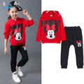 2016 autumn winter girls clothing sets cartoon minnie mouse children's wear cotton casual tracksuits kids clothes sports suit