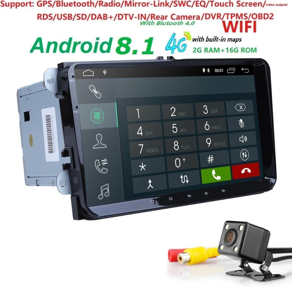 2 + 16 4 3GWIFI Android8.1 Voiture NODVD pour V W Volkswagen SKODA GOLF5 Golf 6 POLO PASSAT B7 T5 CC J ETTA TIGUAN voiture gps stéréo CFC DAB