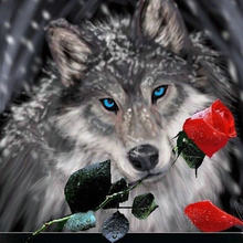 3d diamond painting diamond embroidery animal wolf red rose pictures of rhinestones hobbies and crafts Needlework diamond mosaic(China)