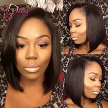 7A Grade Brazilian Virgin Hair Full Lace Wig & Lace Front Wig Natural Color Bob Style Human Hair Wig For Black Women
