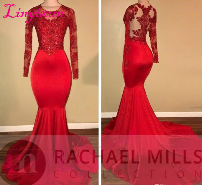 2018 Sexy Mermaid Prom Dresses Long Sleeves Red Lace Bling Bling Formal Evening Gowns Black Girls Vestido De Festa Longo