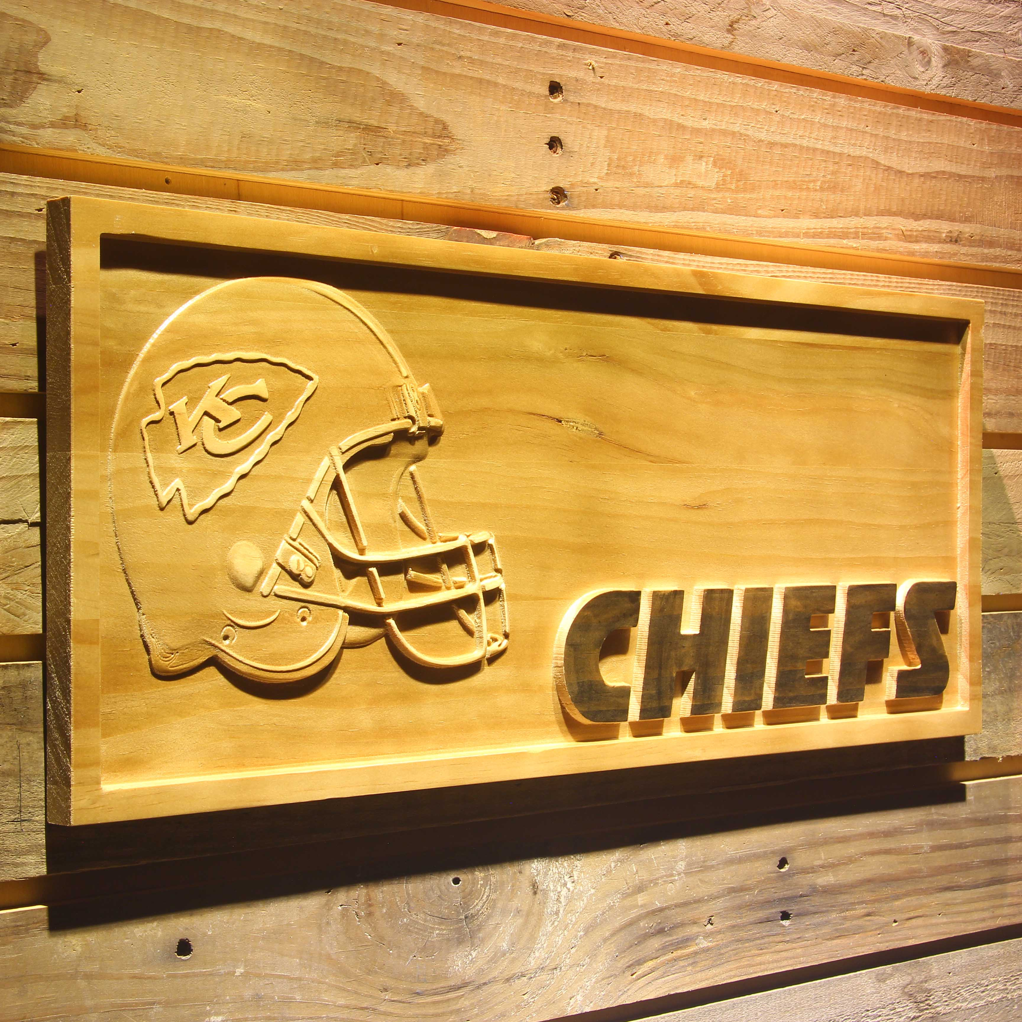 Kansas City Chiefs Helmet 3D Wooden Bar Sign-in Plaques & Signs from ...
