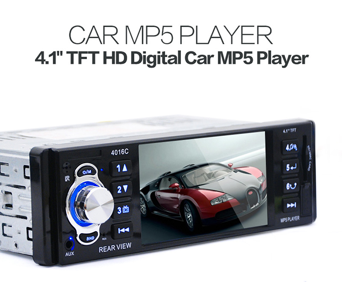 "Hot 1 Din Car MP5 Player 4.1"" HD Display Car Video Player Radio Audio MP5 with FM USB SD AUX Ports Support Rear View Camera"