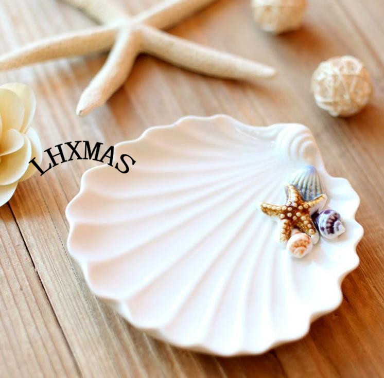 High Quality Mediterranean Style Ceramic Crafts Ornaments Sound Of The Sea Shells Ashtrays Collection Gift E529