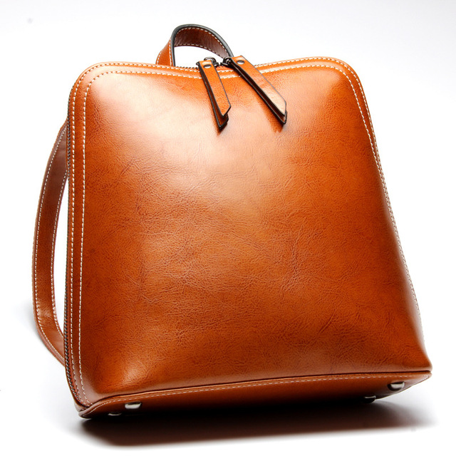 Oil Wax Cow Leather students School Bag