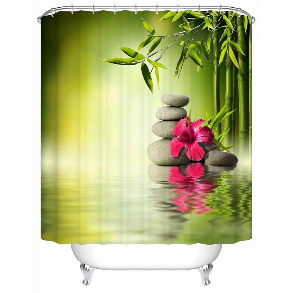 Salle De Bain Minerale ~ Zen Shower Curtain Bamboo Stone And Flower Pattern 3d Print Fabric