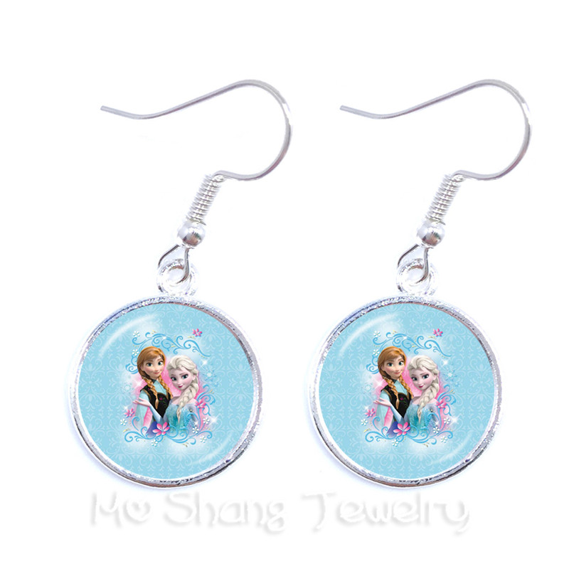 2018 New Princess Anna And Elsa Trendy Earrings Glass Cabochon Princess Snow Queen Drop Earrings For Women Girls To Enjoy High Reputation In The International Market