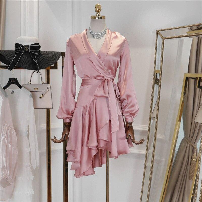 New Fashion 2019 Women Spring Summer Dress Long Sleeve Ruffles Solid Color Irregular Hem Sashes Casual