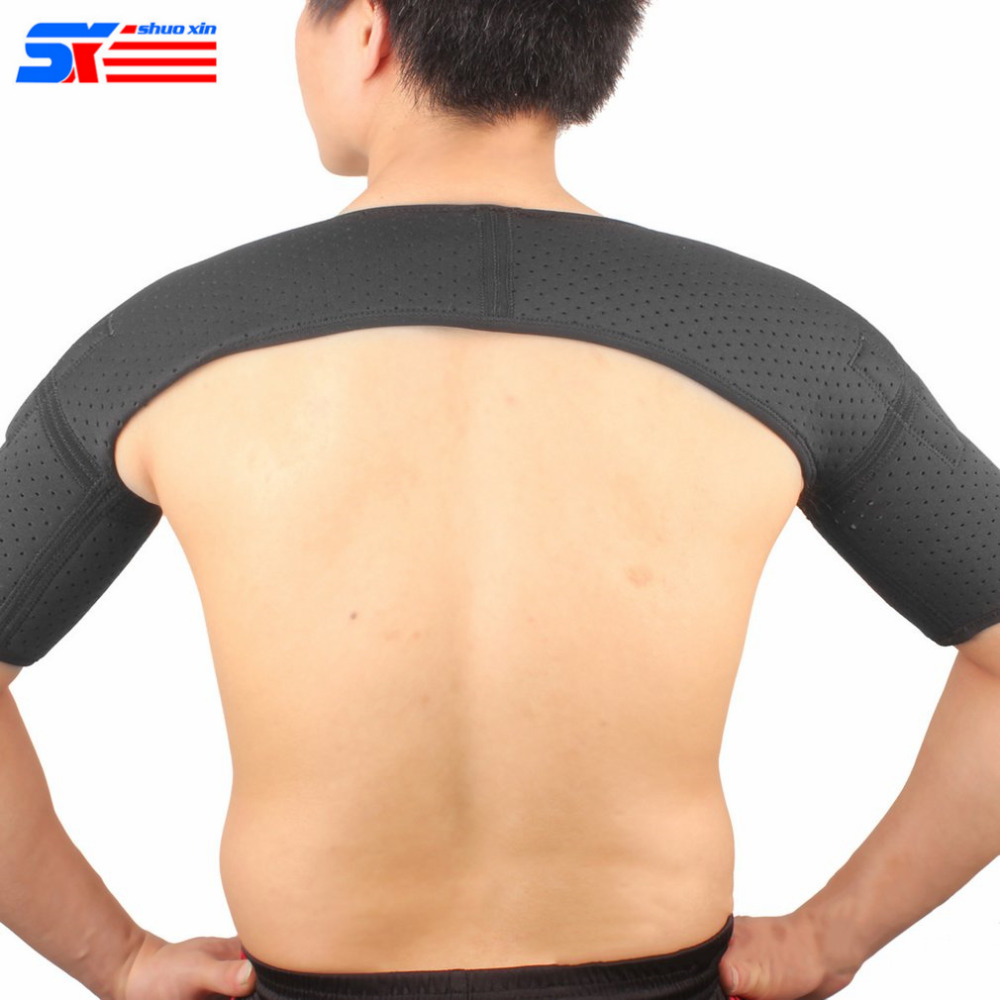 ShuoXin Sports Magnetic Double Shoulder Brace Support Strap Wrap Belt Band Pad Elastic Breathable Protective Sleeve SX640 Black