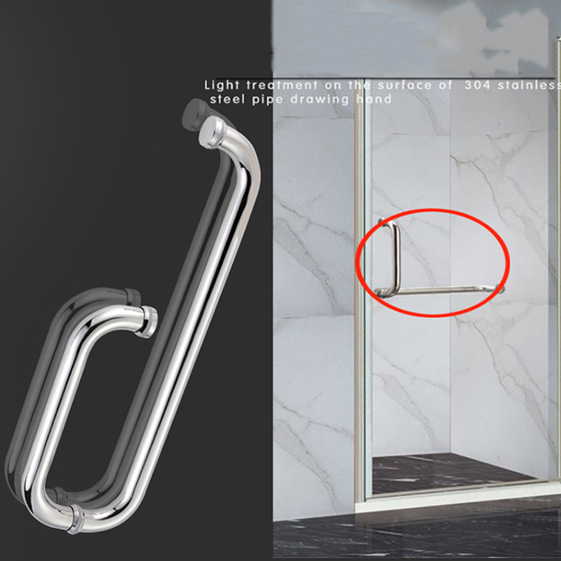 Stainless-Steel Door Handle Pull Shower Glass Barn Entry Exterior Interior Gate Entrance Single-Sided Sliding Towel Bar 19 7 10 stainless steel pull door handle for wood or glass entry door exterior interior