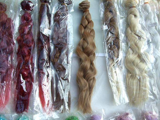 Factory offer 25cm long curly BJD doll hair rainbow color wavy thick doll wigs