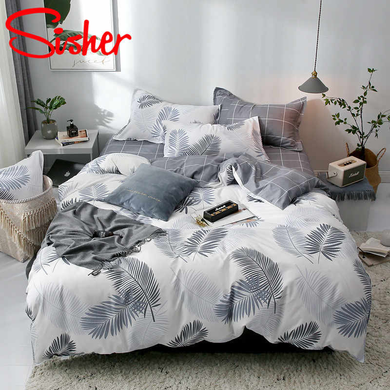 Sisher Ensemble de literie simple avec taie d'oreiller Ensembles housse de couette Draps fournis Drap de lit simple Double Queen King Size Housses de couette Literie