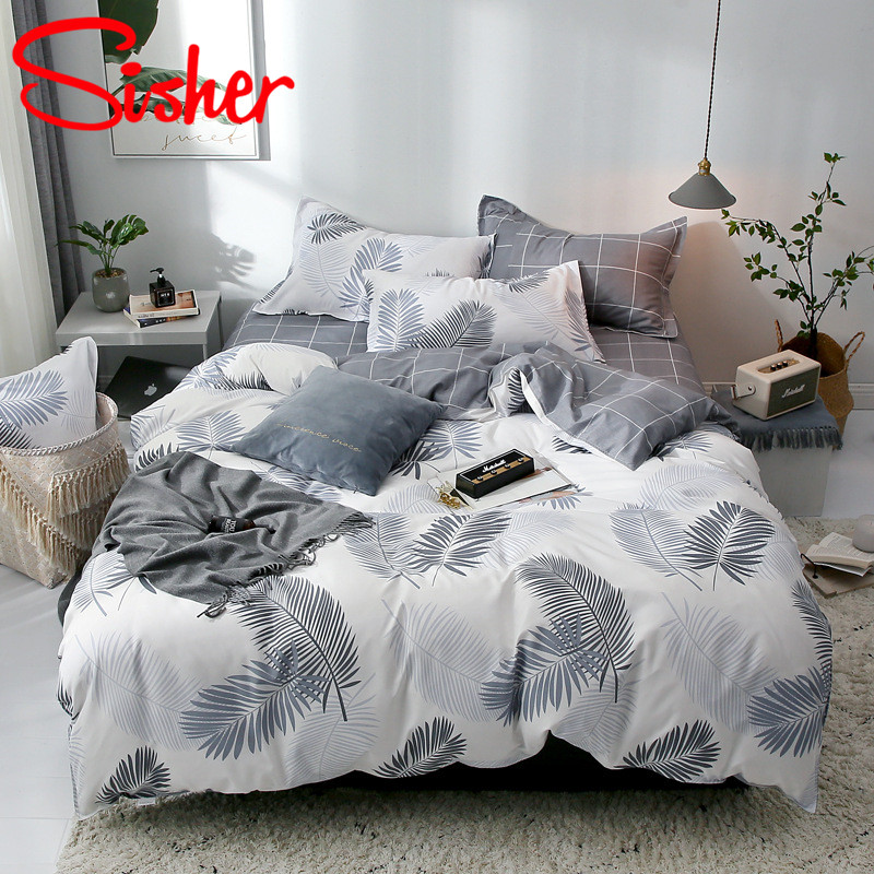 Sisher Simple Bedclothes Bedding Set With Pillowcase Pillow Case Duvet Cover Sets Bed Linen Single Double Full King Size Covers