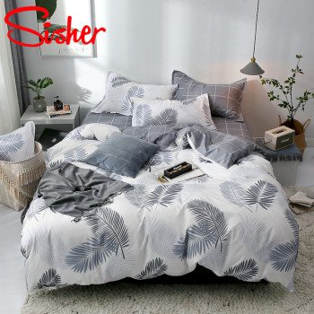 Sisher Simple Bedding Set With Pillowcase Duvet Cover Sets Bed Linen Sheet Single Double Queen King Size Quilt Covers Bedclothes silver duvet cover bedding sets grey silk satin super king size queen double fitted bed sheets bedspreads quilt doona linen 6pcs